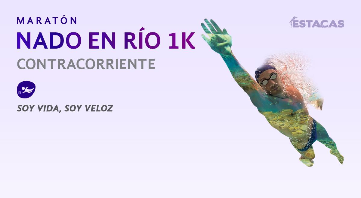 Participa en la competencia Nado en río 1K Contracorriente en Las Estacas, Morelos, el 28 de octubre del 2017.